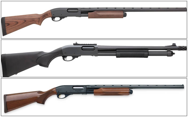 three models of remington 870 shotguns