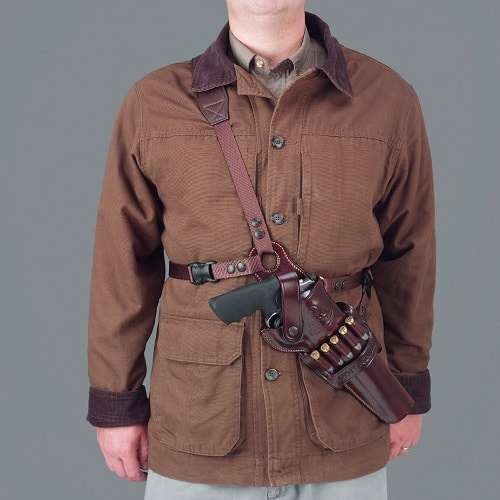 Man wearing a Galco Kodiak Shoulder Holster