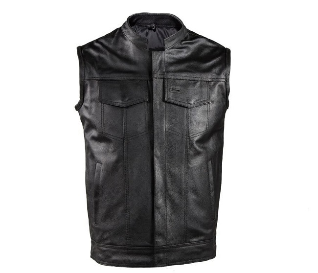 Black Leather SOA style motorcycle vest with Gun Pockets and holster