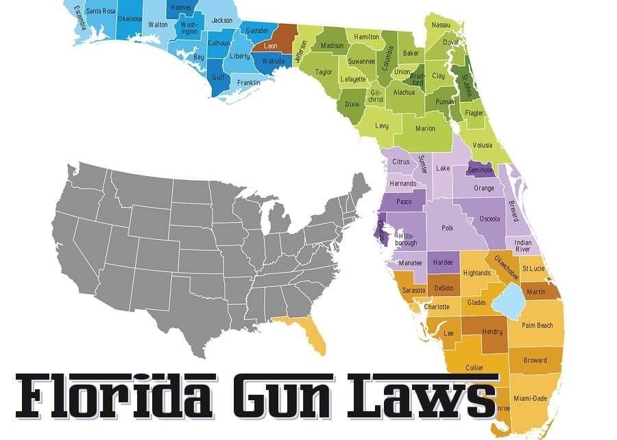 florida gun laws state map with caption