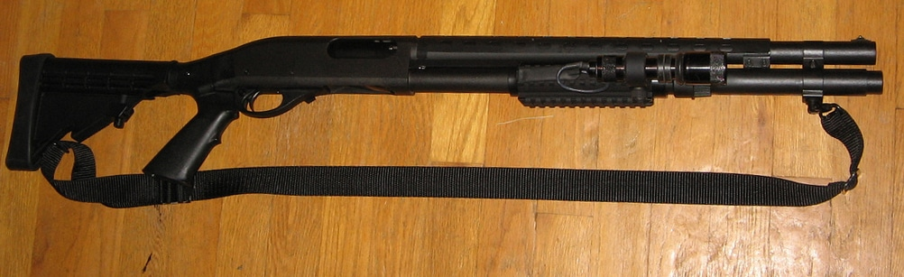 Picture of black remington 870 shotgun