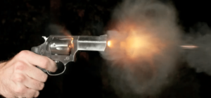 Revolver Shooting Bullet in Slo-mo