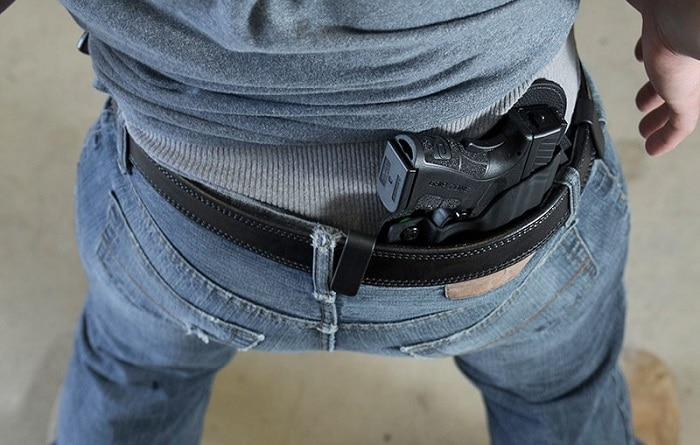S&W IWB Holster on a man, one of the best concealed carry holsters