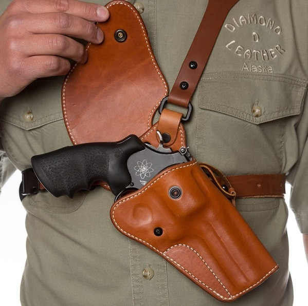 brown leather chest holster
