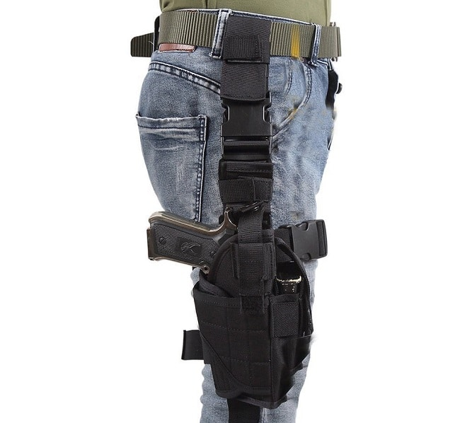 Eilin Tactical Gun Holster Thigh Drop Leg Bag Belt Cross Over Nylon