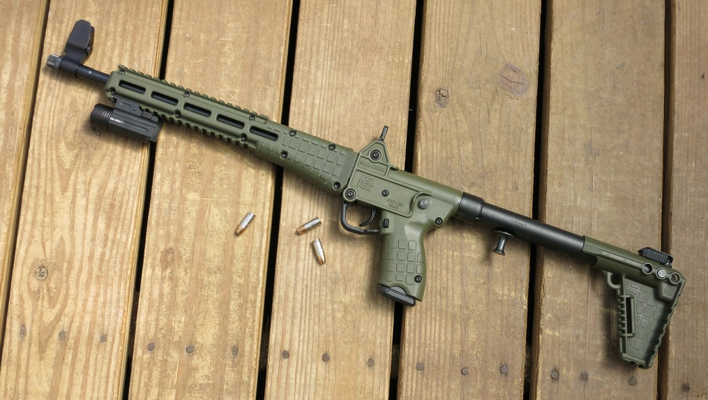Kel Tec Sub 2000 on wooden planks
