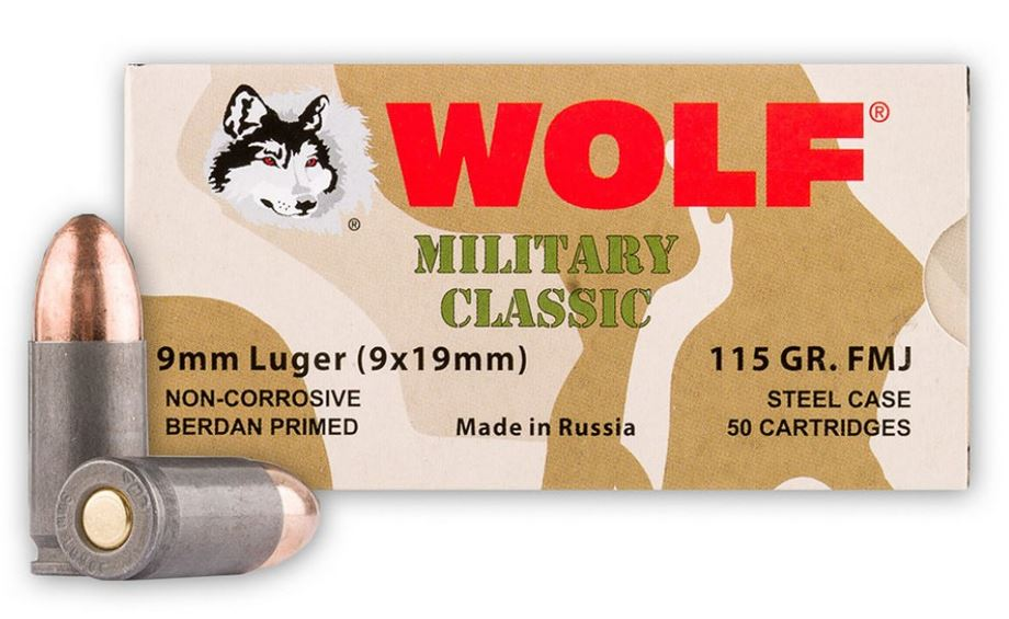 A box and sample of Wolf military classic Ammo