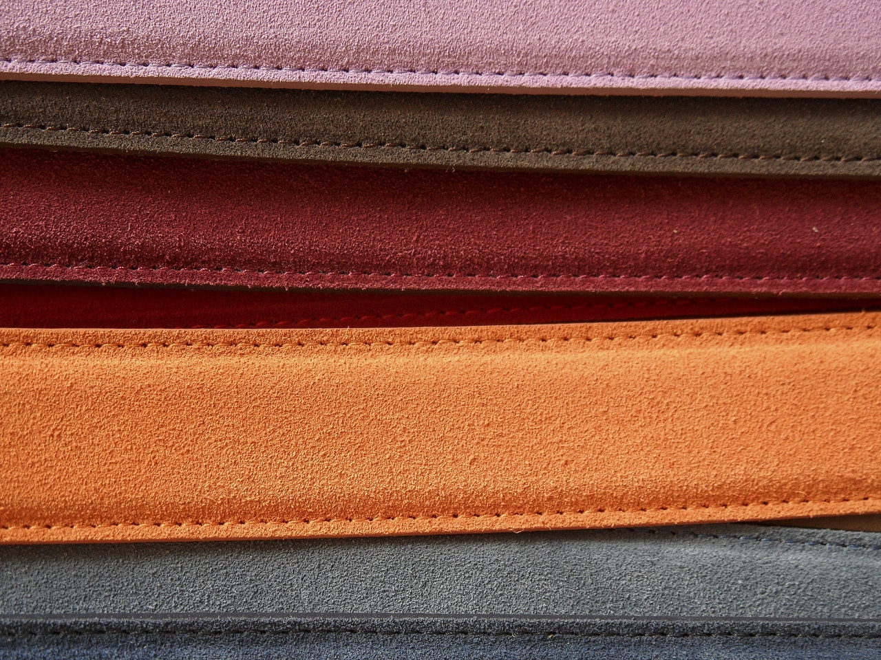 Assorted color of leather belts